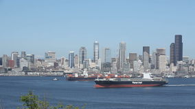 Seattle Container Ship stock footage
