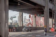 Seattle costa construcción febrero de 2015, rey Street Foto de archivo