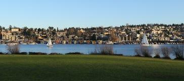 Seattle de stad in, de Unie van het Zuidenmeer stock foto