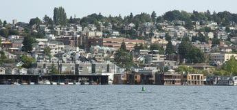 Seattle de stad in, meerunie stock afbeeldingen