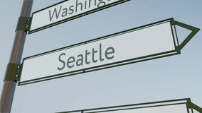 Seattle direction sign on road signpost with American cities captions. Conceptual 3D rendering Stock Images