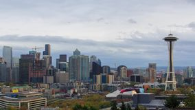 Seattle downtomn timelapse. A timelapse with Seattle downtown and Space Needle  view stock video