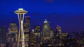 Seattle downtomn timelapse. A timelapse with Seattle downtown and Space Needle  view stock video footage