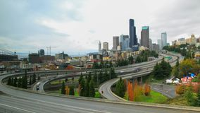 Seattle downtomn timelapse. A timelapse with Seattle downtown, traffic and junction  view stock video footage