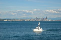 Seattle downtown. View on Seattle downtown from Puget Sound Royalty Free Stock Photography