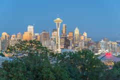 Seattle Downtown Cityscape with Mt. Rainnier from Kerry Park Royalty Free Stock Image