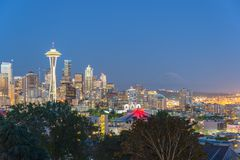 Seattle Downtown Cityscape with Mt. Rainnier from Kerry Park Stock Images