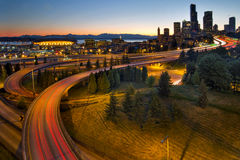 Seattle Downtown Highway Traffic Light Trails Stock Images