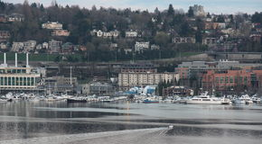 Seattle downtown, lake union, boat Stock Photos