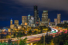 Seattle downtown night long exposure Royalty Free Stock Images
