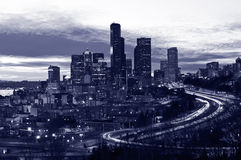 Seattle downtown in the night, purple tone Stock Photography