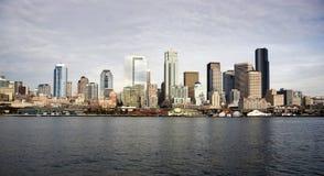 Seattle Downtown Piers Dock Waterfront Elliott Bay Ferry Stock Photo