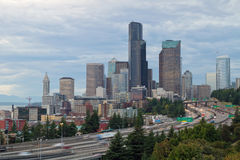 Seattle Downtown Skyline on a Cloudy Day Royalty Free Stock Photo
