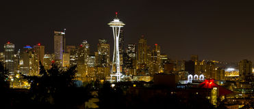 Seattle Downtown Skyline Evening Panorama Royalty Free Stock Photo