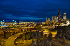 Seattle Downtown Skyline and Freeway at Twilight Stock Images