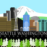 Seattle Downtown Skyline with Mount Rainier Color vector illustration