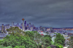 Seattle Downtown- skyline at night time- an artisitic impression Stock Images