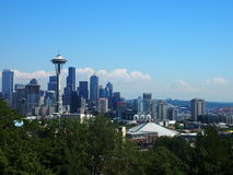 Seattle Downtown 3. Seattle Skyline viewed from Kerry Park, with Mt Rainier in the far background Stock Image
