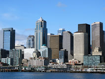 Seattle Downtown Skyline Washington. View of Seattle, WA downtown skyline from on the water.  May Spring sunny day Royalty Free Stock Image