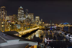 Seattle Downtown Skyline Waterfront Marina Stock Photos