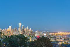 Seattle Downtown Cityscape with Mt. Rainnier from Kerry Park Royalty Free Stock Photo
