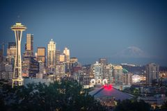 Seattle Downtown Cityscape with Mt. Rainnier from Kerry Park Royalty Free Stock Images