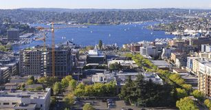 Seattle downtown, South Lake Union areal view from Virginia. Stock Photo