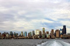 The Seattle downtown view from Ferry, USA royalty free stock photography