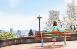 Seattle downtown view woman enjoy from park Royalty Free Stock Images