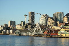 Seattle downtown, space needle, Great Wheel.  Stock Image