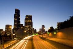 Seattle en het verkeer van de binnenstad Stock Foto