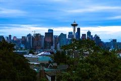 Seattle, Etats-Unis, le 31 août 2018 : aiguille de l'espace avec le centre ville de Seattle image libre de droits