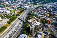 Seattle, EUA, o 31 de agosto de 2018: Vista de Seattle do centro imagens de stock royalty free