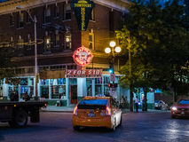 Seattle evening intersection near Pike Place Public Market Stock Images