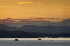 Seattle Ferries at Sunset Stock Photo