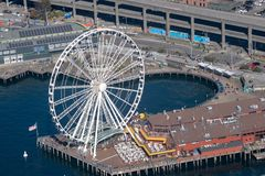 Seattle Ferris wheel from the air stock photos
