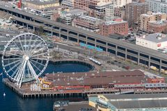Seattle Ferris wheel from the air stock photography