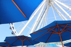 Seattle Ferris Wheel and Blue Umbrellas Royalty Free Stock Images