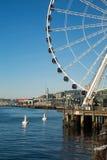 Seattle Ferris Wheel et Puget Sound photos libres de droits