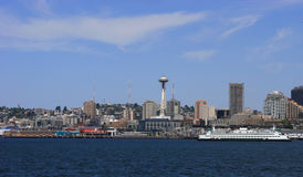 Seattle with Ferry. Seattle from Pier36 royalty free stock image