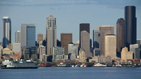 Seattle Ferry Cityscape stock video footage