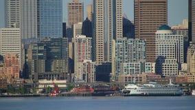Seattle Ferry Cityscape stock video