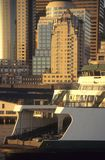 Seattle ferry, leaving waterfront at sunset Stock Images