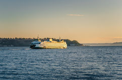 Seattle Ferry at Sunset Royalty Free Stock Photo