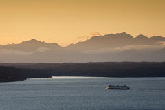 Seattle Ferryboat at Sunset Royalty Free Stock Images