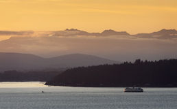 Seattle Ferryboat at Sunset Stock Photo