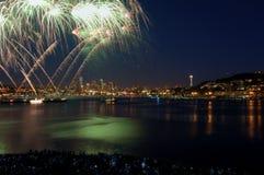 Seattle-Feuerwerk-Erscheinen lizenzfreies stockbild
