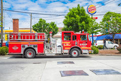 Seattle fire department. Seattle fire engine on standby in parking lot stock photo