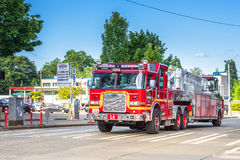 Seattle Fire Department. Seattle Fire ladder truck rushing to an emergency royalty free stock images