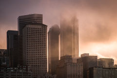 Foggy morning in Seattle City Stock Photo